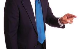 Uomo d'affari che indica barretta Fotografia Stock