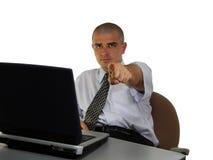 Uomo d'affari che indica la barretta Fotografia Stock Libera da Diritti
