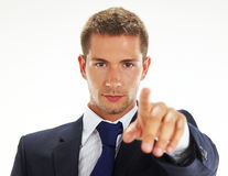 Uomo d'affari che indica voi Fotografie Stock Libere da Diritti