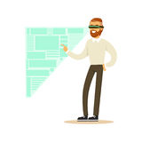 Uomo d'affari che indossa la cuffia avricolare di VR che funziona nella simulazione digitale, analizzante i processi aziendali, c Immagini Stock Libere da Diritti