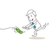 Uomo d'affari che insegue dopo la banconota royalty illustrazione gratis