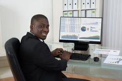 Uomo d'affari che lavora al calcolatore in ufficio immagine stock libera da diritti