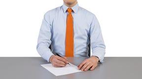 Uomo d'affari che lavora nell'ufficio Fotografia Stock