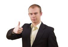 Uomo d'affari che mostra BENE Immagini Stock Libere da Diritti