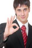 Uomo d'affari che mostra bene Fotografia Stock Libera da Diritti
