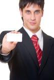 Uomo d'affari che mostra biglietto da visita Immagini Stock Libere da Diritti
