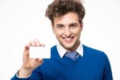 Uomo d'affari che mostra biglietto da visita in bianco Immagine Stock Libera da Diritti
