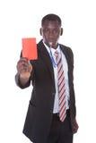 Uomo d'affari che mostra cartellino rosso Fotografia Stock Libera da Diritti