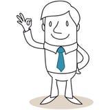 Uomo d'affari che mostra gesto eccellente Fotografie Stock