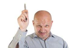 Uomo d'affari che mostra indicare su Immagine Stock