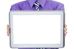 Uomo d'affari che mostra la compressa dello schermo in bianco Fotografia Stock Libera da Diritti