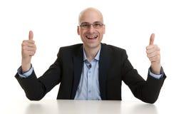 Uomo d'affari che mostra pollice sul gesto Fotografia Stock