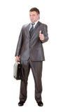 Uomo d'affari che mostra segno GIUSTO Fotografie Stock Libere da Diritti