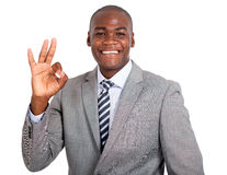 Uomo d'affari che mostra segno giusto Fotografia Stock Libera da Diritti
