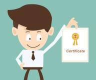 Uomo d'affari che mostra un certificato illustrazione di stock