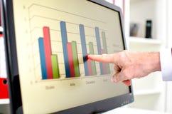 Uomo d'affari che mostra un grafico sullo schermo Fotografia Stock