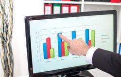 Uomo d'affari che mostra un grafico sullo schermo Immagine Stock