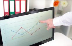 Uomo d'affari che mostra un grafico sullo schermo Fotografie Stock Libere da Diritti