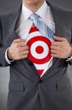 Uomo d'affari che mostra un obiettivo sotto la camicia Immagini Stock Libere da Diritti