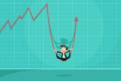 Uomo d'affari che oscilla sulla freccia di profitto Fotografia Stock