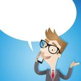 Uomo d'affari che parla sul fondo del blu dello smartphone illustrazione di stock