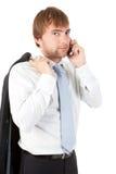 Uomo d'affari che parla sul telefono Fotografia Stock