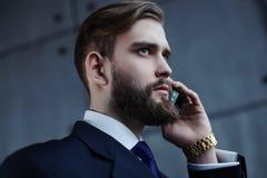 Uomo d'affari che parla sul telefono Immagini Stock