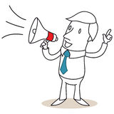 Uomo d'affari che parla tramite il megafono illustrazione di stock