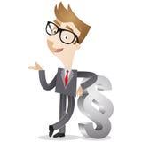 Uomo d'affari che pende contro il paragrafo illustrazione di stock