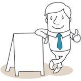Uomo d'affari che pende contro il tabellone per le affissioni in bianco illustrazione di stock