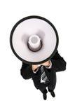 Uomo d'affari che per mezzo di un megafono Immagine Stock Libera da Diritti