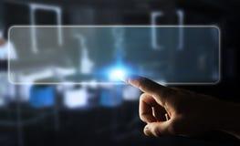 Uomo d'affari che pratica il surfing su Internet con l'interfaccia tattile digitale 3 Fotografie Stock Libere da Diritti