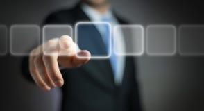 Uomo d'affari che pratica il surfing su Internet con l'interfaccia tattile digitale 3 Immagine Stock