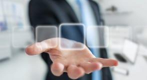 Uomo d'affari che pratica il surfing su Internet con l'interfaccia tattile digitale 3 Immagini Stock