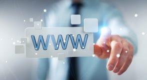 Uomo d'affari che pratica il surfing su Internet facendo uso della barra degli indirizzi tattile 3D di web Fotografia Stock
