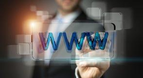 Uomo d'affari che pratica il surfing su Internet facendo uso della barra degli indirizzi tattile 3D di web Fotografie Stock
