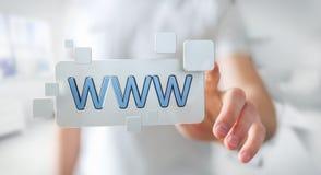Uomo d'affari che pratica il surfing su Internet facendo uso della barra degli indirizzi tattile 3D di web Fotografie Stock Libere da Diritti