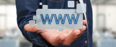 Uomo d'affari che pratica il surfing su Internet facendo uso della barra degli indirizzi tattile 3D di web Fotografia Stock Libera da Diritti
