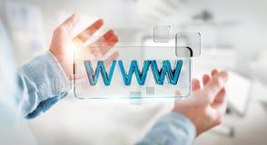 Uomo d'affari che pratica il surfing su Internet facendo uso della barra degli indirizzi tattile 3D di web Immagine Stock