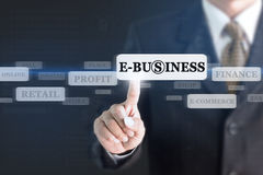 Uomo d'affari che preme il bottone di concetto di e-business Immagini Stock Libere da Diritti