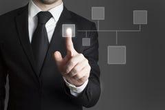 Uomo d'affari che preme il gruppo virtuale del bottone Fotografia Stock