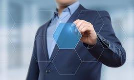 Uomo d'affari che preme tasto Concetto di affari di Internet di tecnologia dell'innovazione Spazio per testo immagine stock