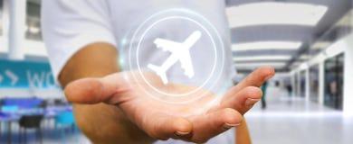 Uomo d'affari che prenota il suo volo con l'applicazione digitale moderna 3 Immagini Stock