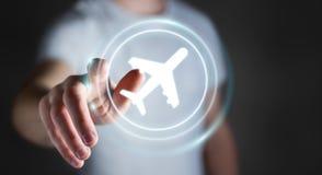 Uomo d'affari che prenota il suo volo con l'applicazione digitale moderna 3 Fotografie Stock