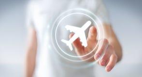 Uomo d'affari che prenota il suo volo con l'applicazione digitale moderna 3 Immagine Stock