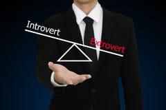 Uomo d'affari che presenta il carattere dell'estroverso e dell'introverso Fotografia Stock Libera da Diritti