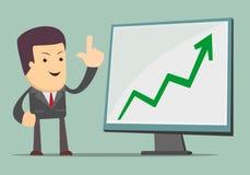 Uomo d'affari che presenta il grafico di crescita di affari Fotografia Stock Libera da Diritti