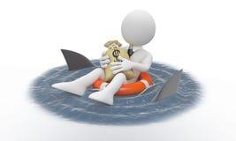 Uomo d'affari che protegge i suoi soldi dagli squali Immagine Stock
