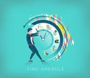 Uomo d'affari che prova a fermare il tempo Ricerca del tempo-shedul migliore Fotografia Stock