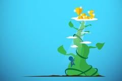Uomo d'affari che scala gambo di una pianta di fagioli gigante per ottenere le ricompense, concetto di affari Fotografie Stock